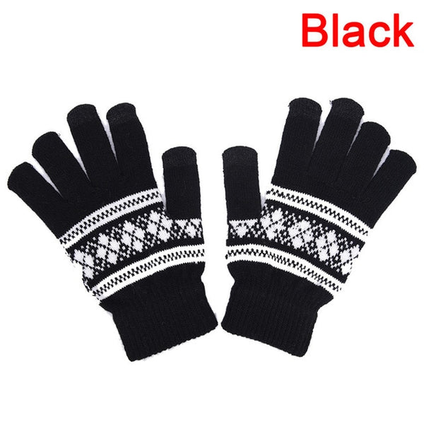 1 Pair Jacquard Unisex Men Women Screen Soft Comfortable Gloves Warm Winter Knit Mitten