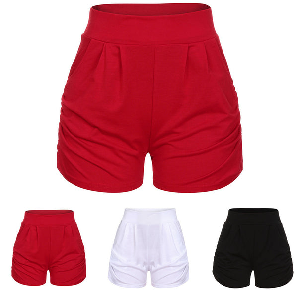 Women Summer Solid Loose Hot Pants Lady Summer Beach Shorts Trousers