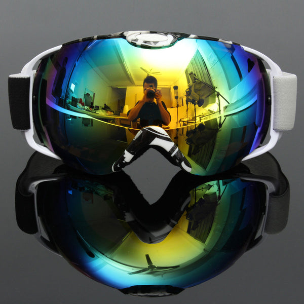 Black & White Frame Anti-Fog UV Snow Snowboard Ski Goggles Double Lens Coloured