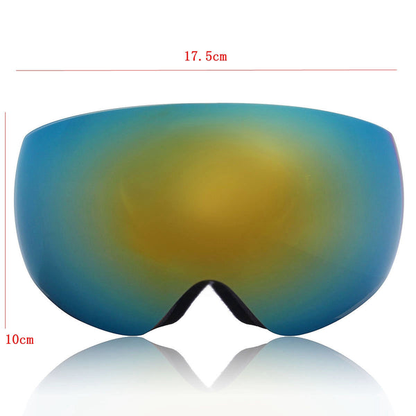 Yellow Winter Outdoor Sport Snowboard Ski Goggle Spherical Anti-fog UV Dual Lens