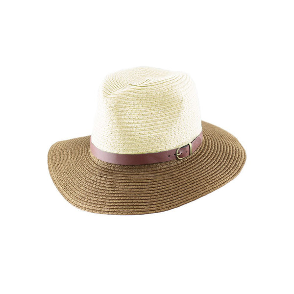 Korean Fashion Fedora Hat Leather Belt Color Block Panama Hat Beach Sun Straw Hat Unisex Blue&Coffee/Red&Blue/Beige&Khaki