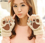 2015 Winter Warm Women Fingerless Gloves Fluffy Bear/Cat Plush Paw Fur Gloves Mittens 5 Colors