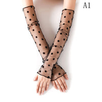 Women Line Lady Sexy Lace Flower Fashion Shading Long Fingerless Glove Gloves Summer Anti-UV Gloves