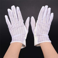 1 Pair ESD PC Computer Working Antiskid Anti-static Anti-skid White Gloves New Polyester Hot Sale