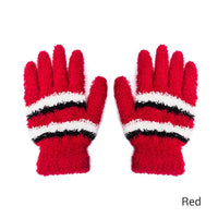 Evrfelan Fahsion Coral Velvet Gloves Women Candy Colors Winter Gloves Female Girls Handwarmers Stripes Warm Gloves