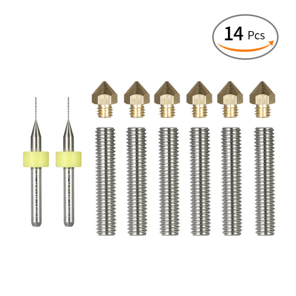 14pcs 3D Printer Head Tool Kit 0.4mm Nozzle Extruder Print Heads + 1.75mm Throat Tube + Cleaning Drill Bits