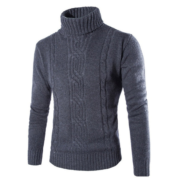Fashion Men's Sweaters Pullover Muscle Tee High Neck Knitted Sweaters Warm Winter Tops Men Clothing Casual Sweater Masculino