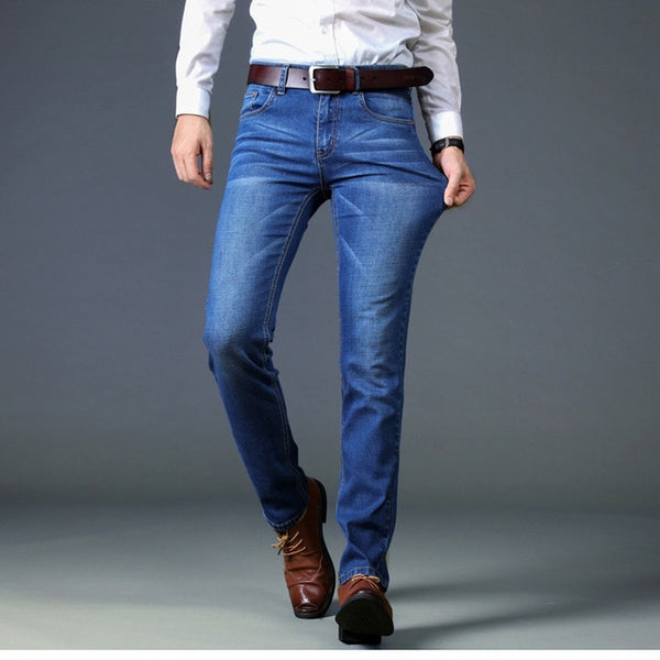 Free Shipping Men's Jeans 2018 Men Spring Autumn Jeans Casual Cotton Slim Fit Long Solid Pants Quality Male jeans D50