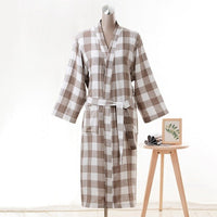 1piece Men's Bathrobes Soft Robes Pure Cotton Nightwears Medium Long Bathrobes Male Lace-up Robes Grid Sleepwears Size L/XL