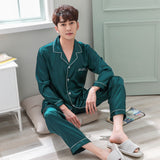 2018 Autumn Sleep Clothes Turn-down Collar Mens Silk Satin Pajamas Full Sleeve Silk Clothing Men Solid Color Men's Pajamas 1263