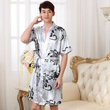 2018 Autumn Chinese Silk Robe  Male Silk Dressing Gown Sleeping Robe For Men Silk Satin Man Bathrobe   1276