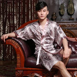 Chinese Silk Robe Silk Bathrobe For Men  Male Summer Robe bathrobe Mens 1286