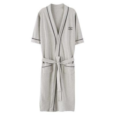 2018 Autumn  Bathrobes For Men Solid Color Cotton Dressing Gown Bathrobe Cotton Male Summer Robe 1278