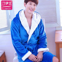 2018 Winter Men's Robe With Hood Solid Color Mens Robes Long Men's Home Clothes  Coral Fleece Bathrobe Hooded  1290