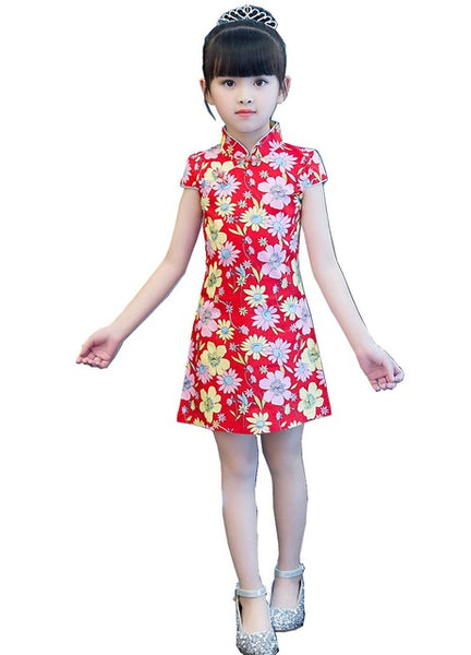 Shanghai Story 2018 Baby Girls Chinese Style Dress Flower Print Cheongsam for Girls Kids Performance Costume Floral Qipao Dress