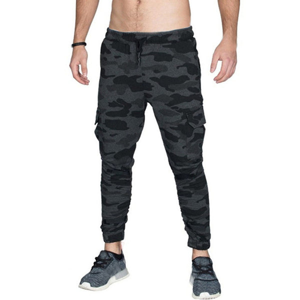 2018 Casual Pants Men Joggers Fitness Cotton Drawstring Multi-pockets Trousers Men Workout Bodybuilding Gyms Sweatpants Men 3XL