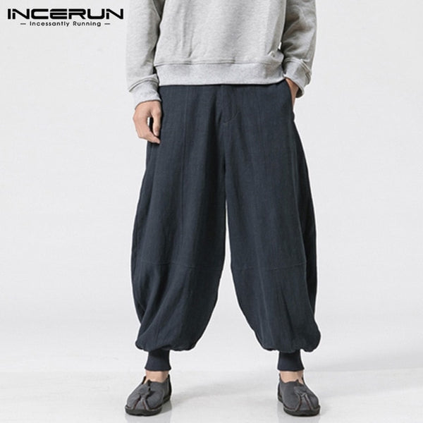 2018 Autumn Casual Men Harem Pants 100%Cotton Solid Color Loose Pockets Wide Leg Trousers Men Vintage Drop Crotch Harajuku S-5XL