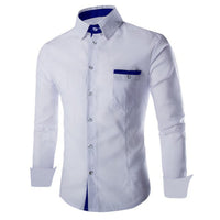 Foraml Autumn Men Shirts Dress Social Casual Shirts Long Sleeve Cotton Camisa Hombre Slim Fit White Blue Turn Down Collar Shirt
