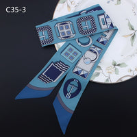 2018 New Print Ribbons 100x5cm small Kerchief Handle Bag Ribbon Airline For Women Fashion Head Scarf Small Long Scarves