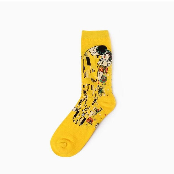 New Retro Oil Painting Art Socks Cotton Fashion Happy Socks Men Calcetines Vintage Men Cotton Hip Hop Streetwear Socks Meias