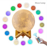 3D Print Moon night light Touch Switch Bedroom Bookcase Night Light 12CM 15CM 20CM 22CM Novelty home Decor Creative lamp