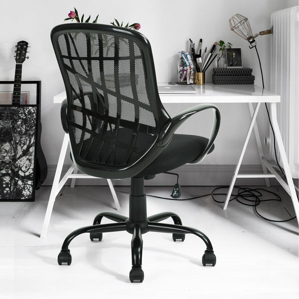 Mid-back Swivel Stars Feet Anomaly Grid Office Chair with Shake for Office (Black)