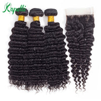 Deep Wave Bundles With Closure 3 Brazilian Weave Bundles With Closure Free Part Human Hair Bundles With Closure 4*4 Non-Remy