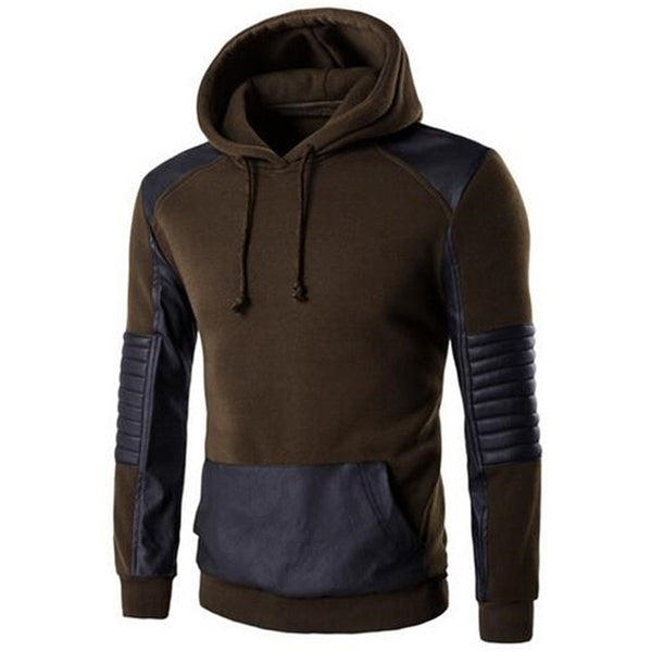 INCERUN Pullovers Hoodies Mens Sweatshirts Male HipHop Hoodie Patchwork Leather Sweatshirt Slim Fit Man Hoody Coat Hombre Winter