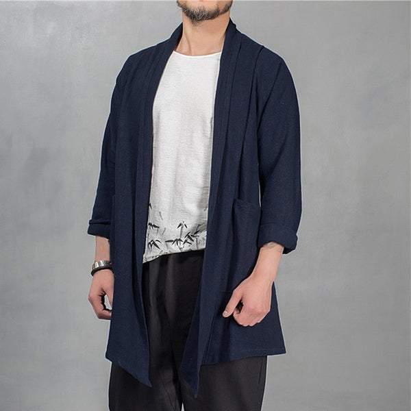 Hiphop Men's Trench Cardigan Long Sleeve Outwear Cardigan Cloak Irregular Hem Loose Pockets Hombre Coat Casual Jackets Masculino