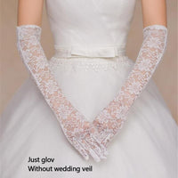 Rhinestone Lace Brides Wedding Floral Bowknot Fingerless Short Gloves Trendy