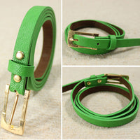 Fashion Women Lady's Waist Belt Slender Candy Color Thin Skinny Waistband Belt PU Leather Green