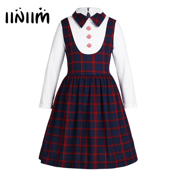 Kids School Uniform Long Sleeves Lapel Plaid A-line False Two-piece Dress for Birthday Party Elementary School Casual Dresses