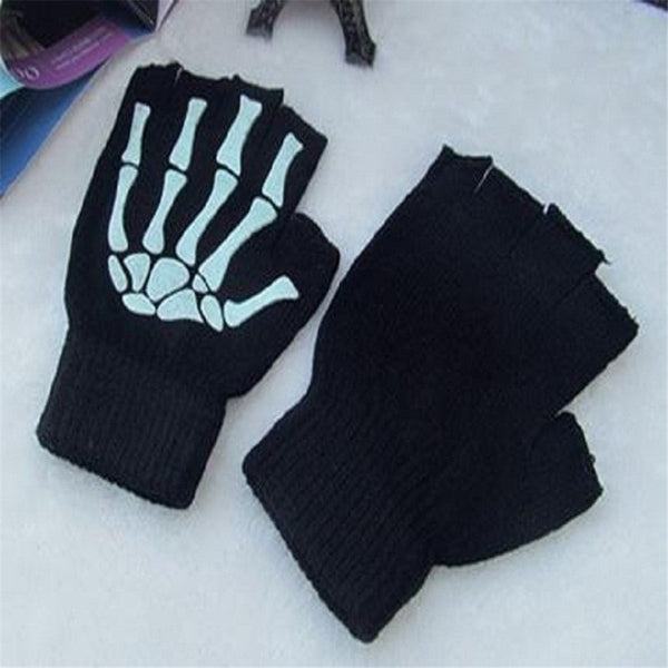 Halloween Cosplay Decoration Black and Half Finger Skulls Print Hand Claw Knitting Magic Warm Gloves