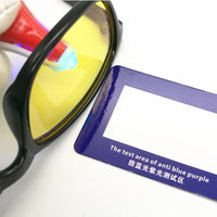 Anti Blu ray UV Test Card Sunglasses  Lens Radiation Glasses Purple Test Paper
