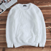 INCERUN Stylish Men Winter Warm Crew Neck Soft Fur Fuffy Shearling Sweaters Jumper Casual Long Sleeve Front Pockets Pullovers