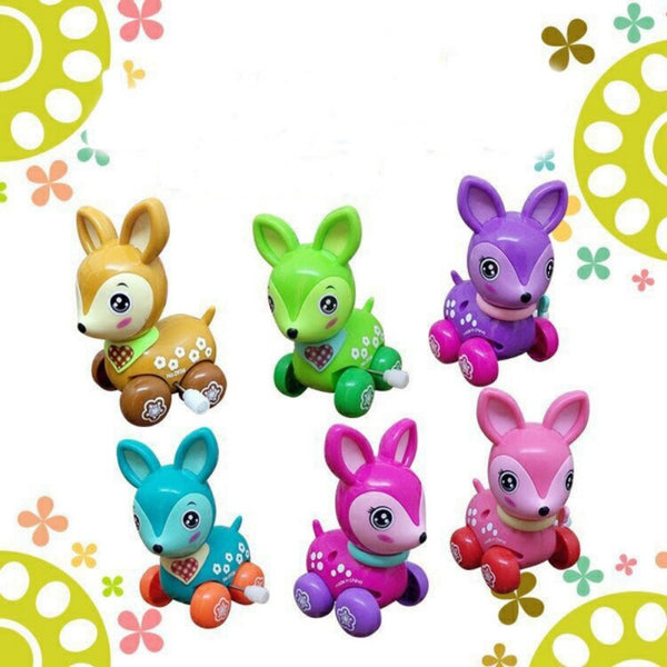 Clockwork Spring Toy Mini Funny Colorful Toy Baby Kid Dear Style Wind Up Running Gift for newborn baby Random Color 1pc