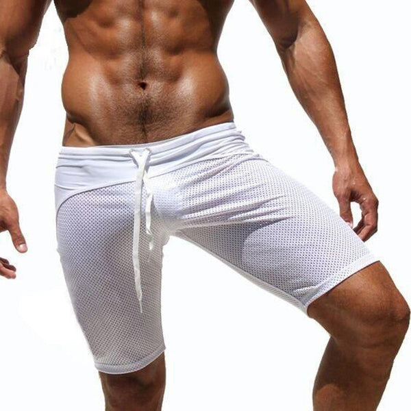 Men's Beach Pants Summer Thin Mesh Breathable Elastic Rope Casual Shorts