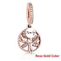 Luxury 925 Sterling Silver FAMILY TREE WITH CUBIC ZIRCONIA Bead Charms Fit Original Charm Bracelet DIY Authentic Jewelry