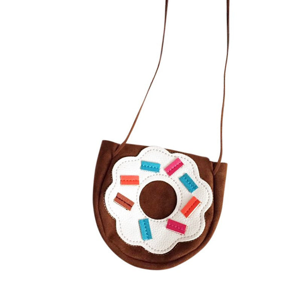Handmade Sweet Chocolate Donuts Bag For Kids Girls Gift Bag Cute Fashion PU Donuts Coin Purse Mini Messenger Bag For Kid