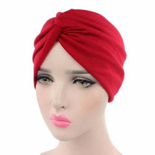 Stretchy Cotton Turban Head Wrap Band Sleep Hat Indian Caps Scarf Hats Ear Cap