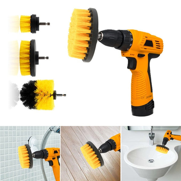 3pcs Power Scrubber Brush Drill Brush Clean for Bathroom Surfaces Tub Shower Tile Grout Cordless Power Scrub Drill Cleaning Kit