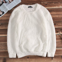 2018 New Men's Tracksuits Sweatshirt Solid Long Sleeve Stylish Winter Warm Crew Neck Fur Fluffy Jumper Sweatshirt Hoodies Hombre