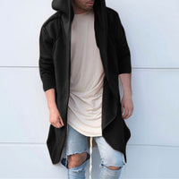 2018 Hiphop Mens Hoodies Sweatshirts Mantle Hoody Long Irregular Hem Hombre Solid Loose Fit Hoody Autumn Long Sleeve Cardigan
