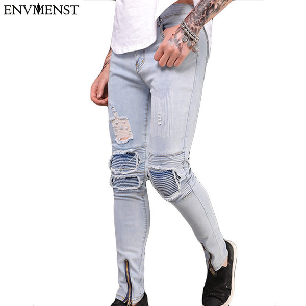 Envmenst 2018 Brand Mens Flower Patchwork Slim Straight Denim Pants Male Casual Ripped Long Trousers Men Hiphop Skinny Jeans