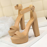 =2018 new  European Fashion Women Platform Sandals Suede Thick Heeled Pumps Buckle Ladies Sexy Fashion High Heels Sandal