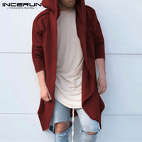 INCERUN 2018 Mens Hoodies Long Outwear Long Sleeve Hooded Hip-hop Streetwear Casual Fashion Winter Men Coat Jackets Sweatshirts