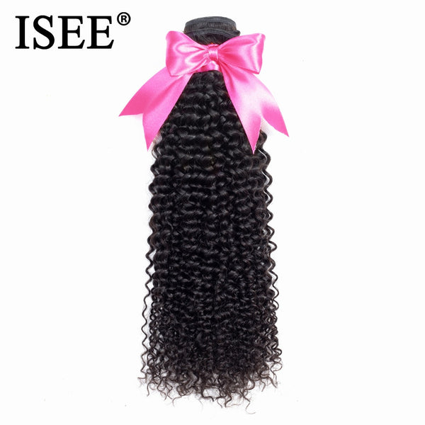 ISEE HAIR Mongolian Kinky Curly Hair Bundles Remy Human Hair Extensions Kinky Curly Bundles Can Buy 1/3/4 Bundles Nature Color