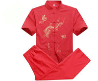 Summer Traditional Chinese Men's Cotton Wu Shu Clothing Embroidery Shirt & Pant Kung Fu Tai Chi Suit M L XL XXL XXXL