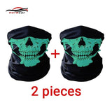 HEROBIKER Motorcycle Mask Summer Balaclava 2 pieces Skull Ghost Maske Biker Motor Face Shield Windproof Outdoor Face Masks Scarf