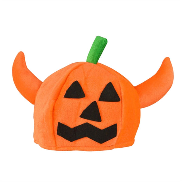1pc Cute Halloween Pumpkin Hat Pumpkin Halloween Party Hat Dress Up Hat Props Round Double-horned Pumpkin Hat